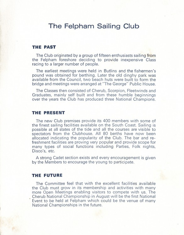 1973 Official Clubhouse Opening Programme cover